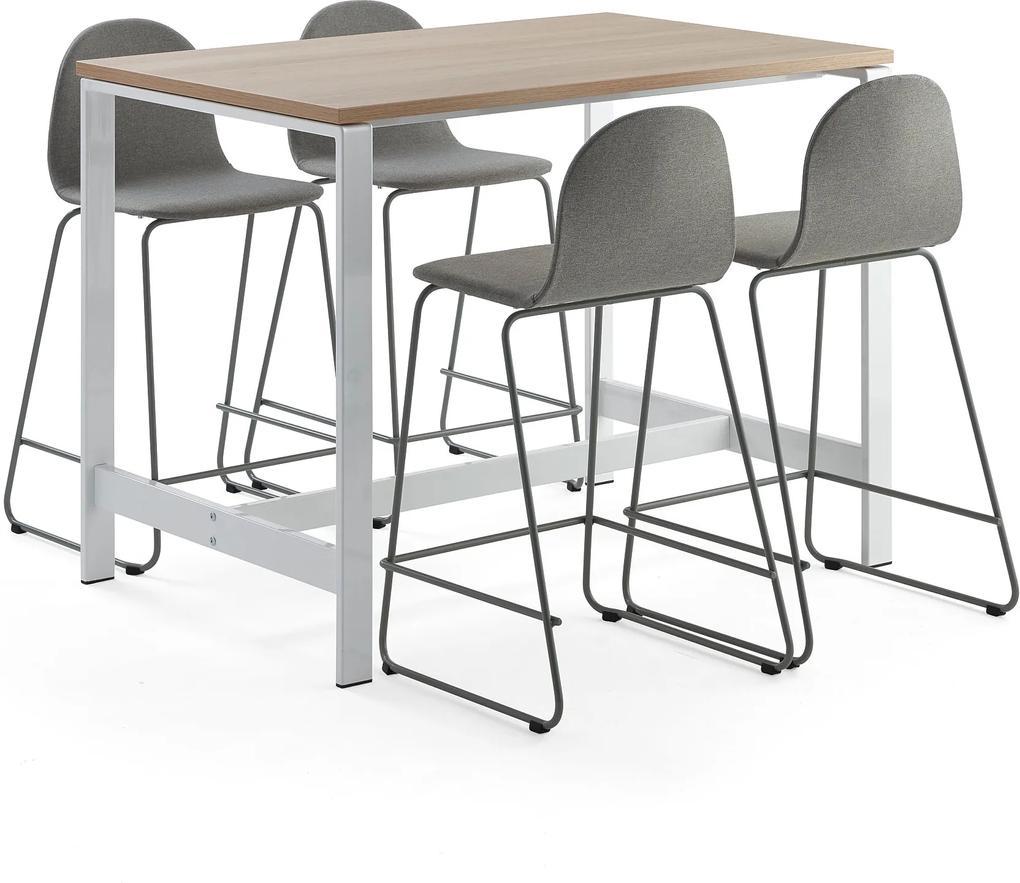 Zostava nábytku: Stôl Various + 4 barové stoličky Gander, zelenošedá