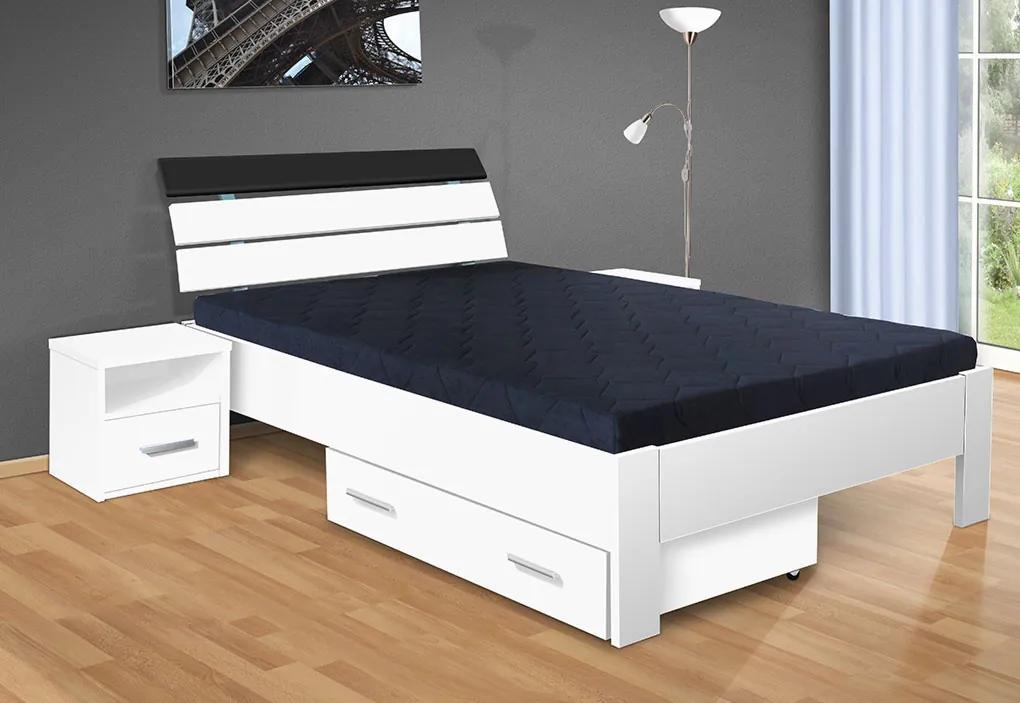 Manželská posteľ Darina 200x160 cm farba lamina: biela 113, typ úložného priestoru: bez úložného priestoru, typ matraca: bez matraca