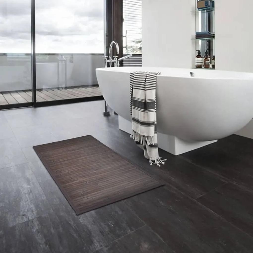 vidaXL Bambusová predložka do kúpeľne 4 ks 60x90 cm tmavohnedá