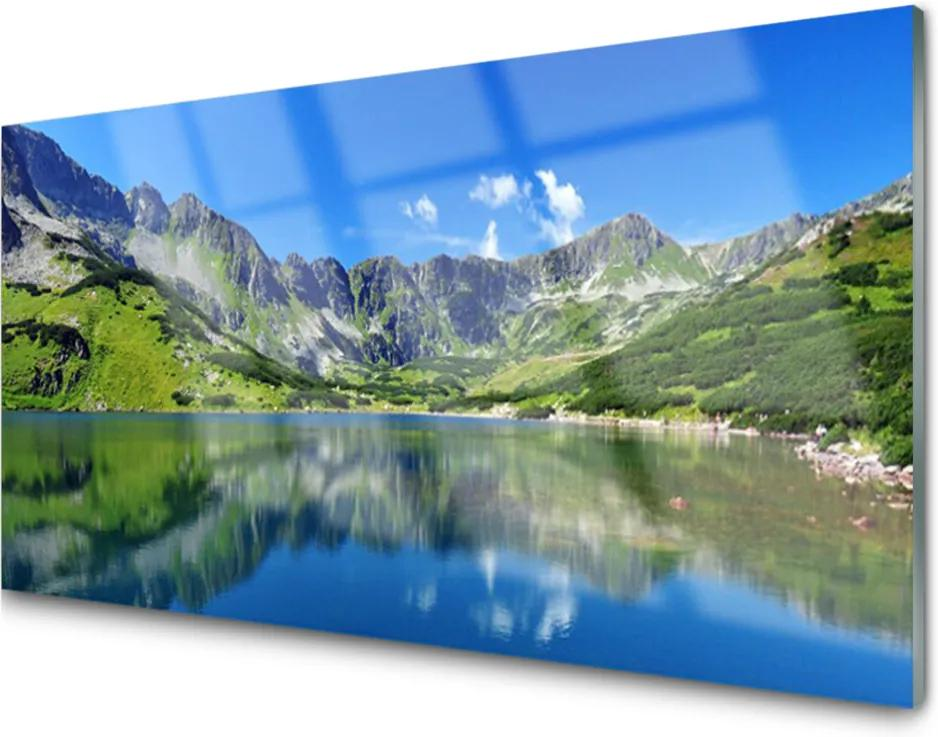 Skleněný obraz Hora jezero krajina