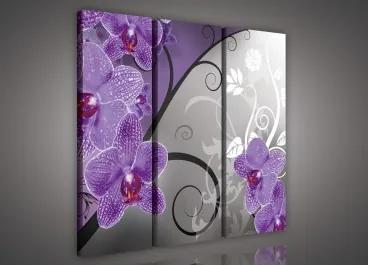 Obraz na plátne viacdielny - OB3138 - Fialová orchidea 90cm x 80cm - S6