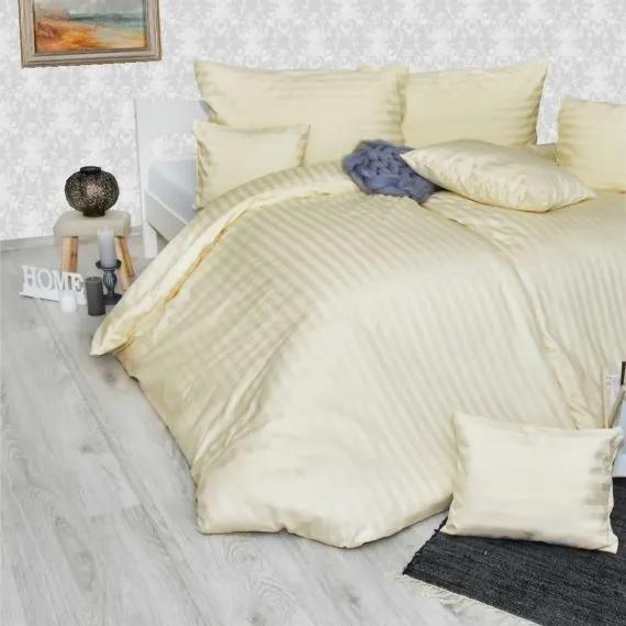 Obliečky damaškové krémové Emi 2x Vankúš 90x70cm, 1x Paplón 200x220cm