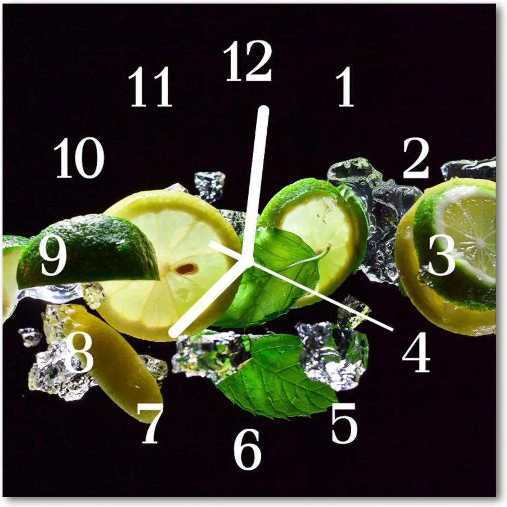 Nástenné skleněné hodiny Lemonové limetkou