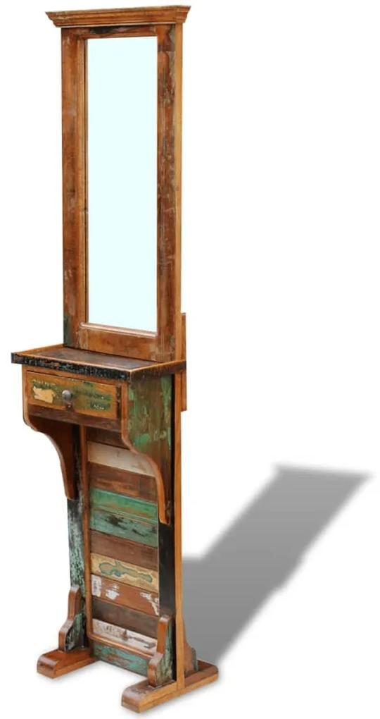 vidaXL Zrkadlo do chodby, recyklovaný masív 47x23x180 cm