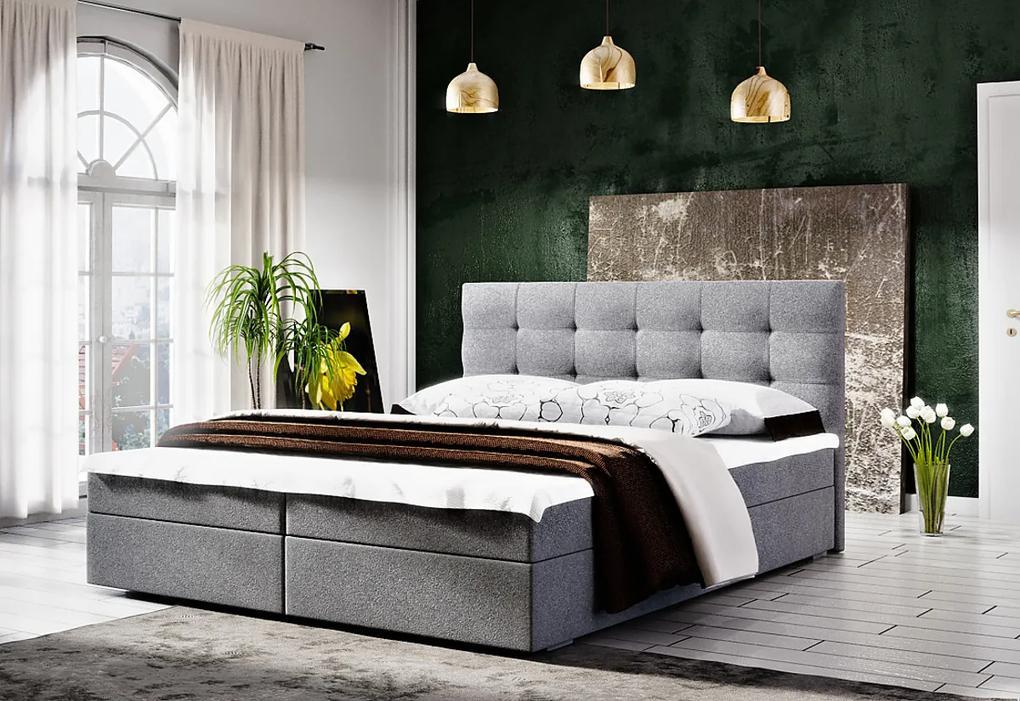 Čalúnená posteľ FADO 2 + rošt + matrac, 140x200, Cosmic 160