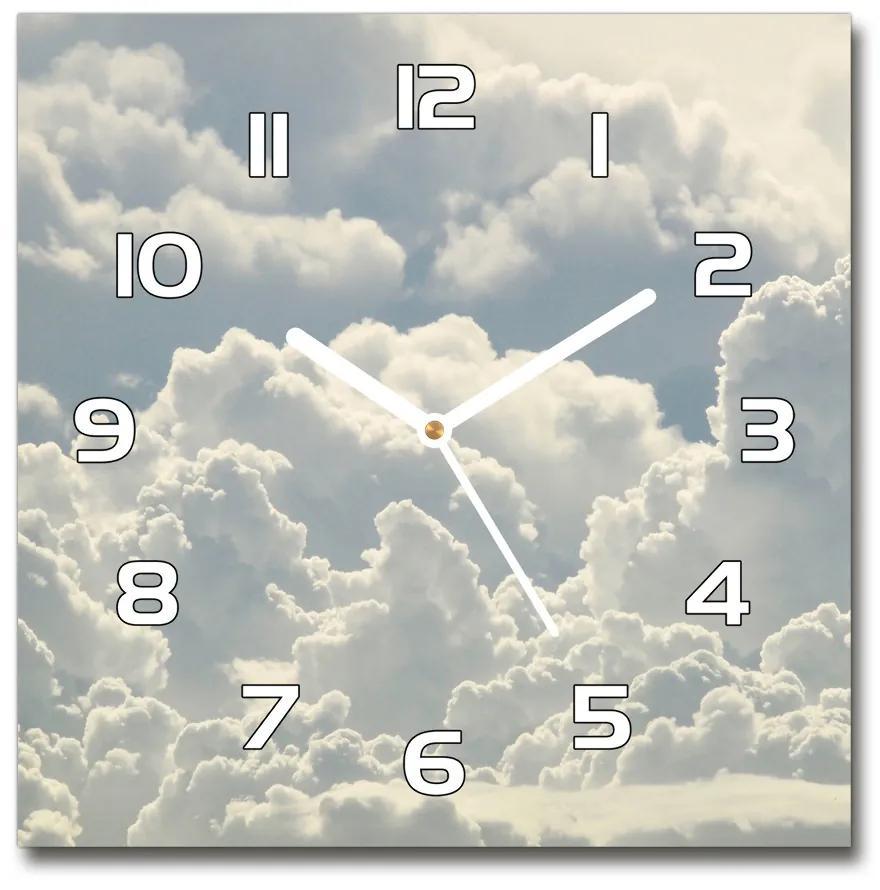 Sklenené nástenné hodiny štvorec Oblaky pl_zsk_30x30_f_83322536