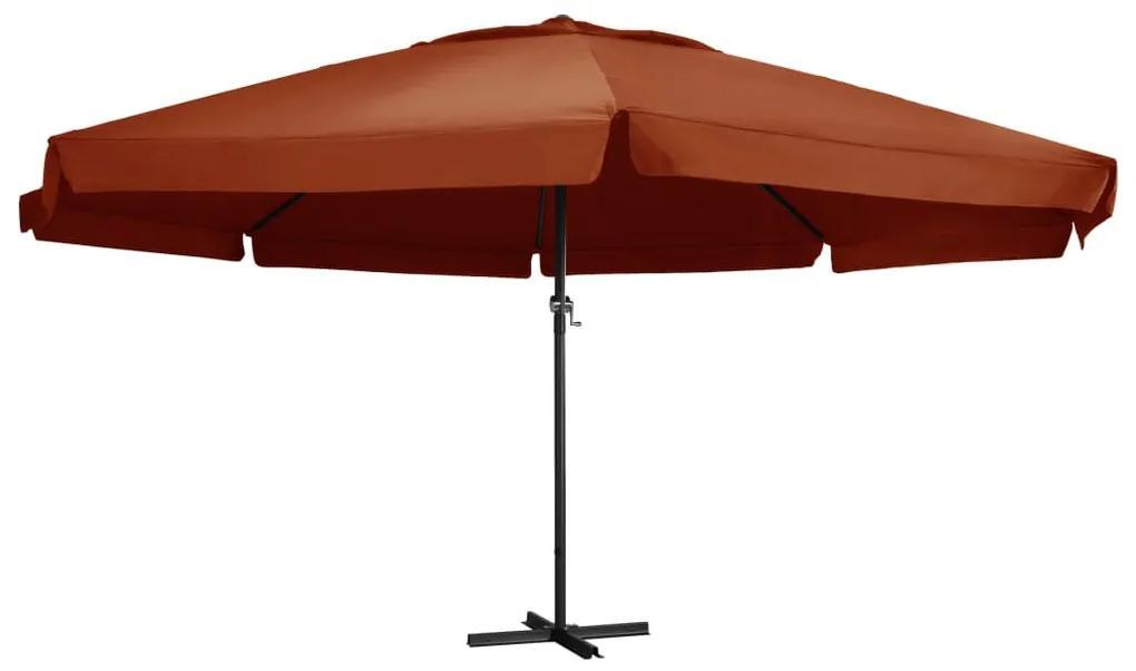 vidaXL Vonkajší slnečník s hliníkovou tyčou 600 cm, tehlovo červený