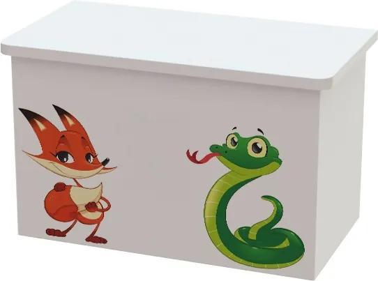 MAXMAX Truhla na hračky ZVIERACIE PARTA pre dievča pre chlapca pre všetkých