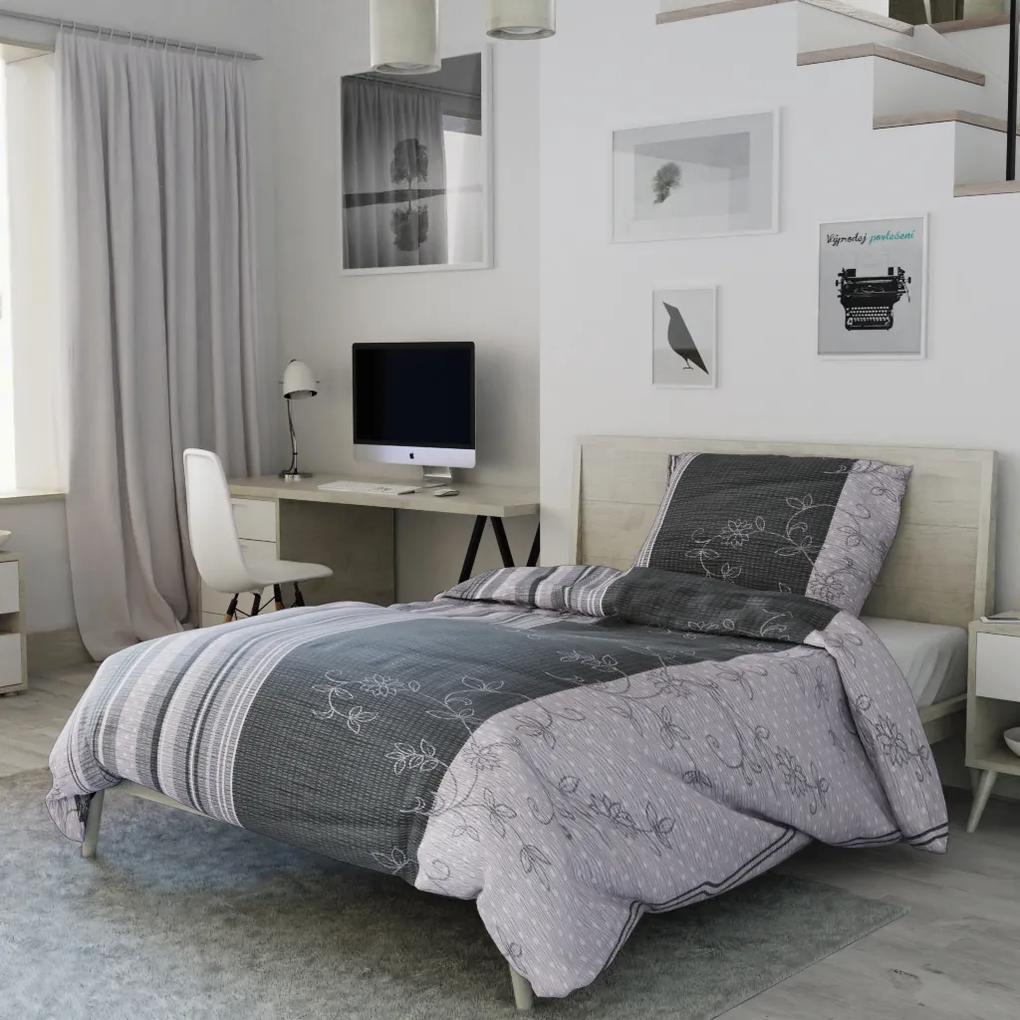 Krepové obliečky Bezkvet sivý Predĺžené: Obliečky na prikrývku s vankůšom 70 x 90 + 140 x 220 cm
