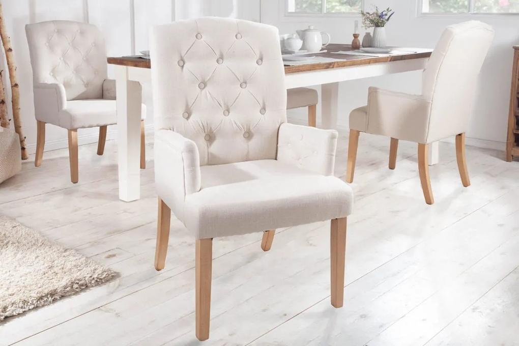 Dizajnová stolička s podrúčkami Queen béžová