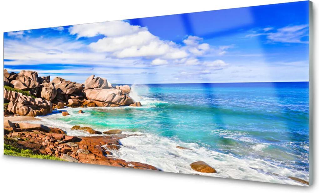 Skleněný obraz Pláž skály moře krajina