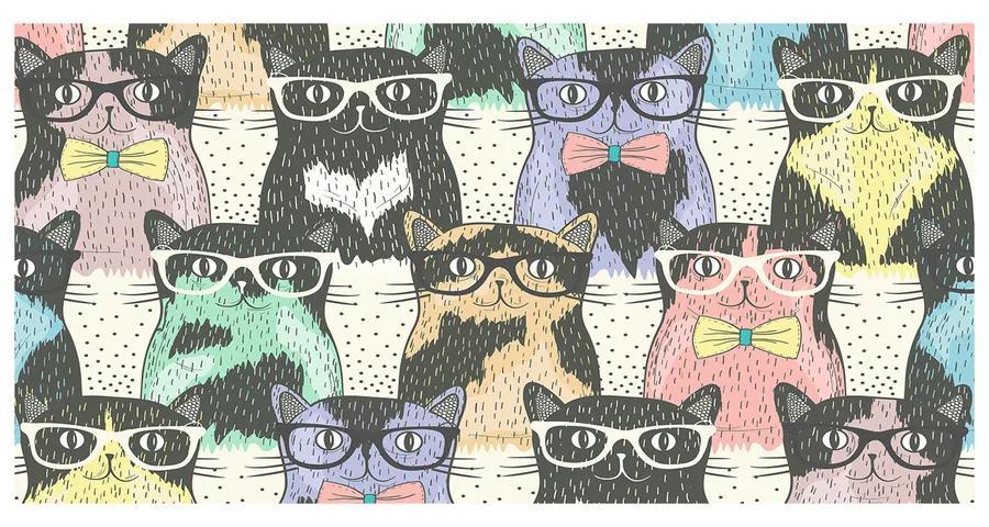 Foto obraz akrylový Mačky v okuliaroch pl-oa-140x70-f-58024892