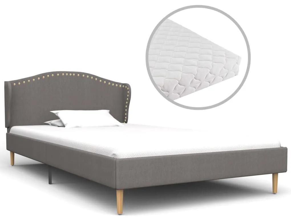 vidaXL Posteľ s matracom, svetlosivá, látka 90x200 cm