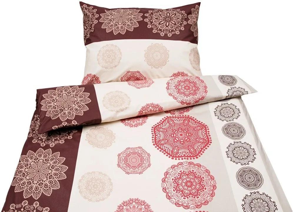Škodák Bavlnené posteľné obliečky vzor B-477 mandaly červená - Jednolôžko predĺžené 140 x 220 cm