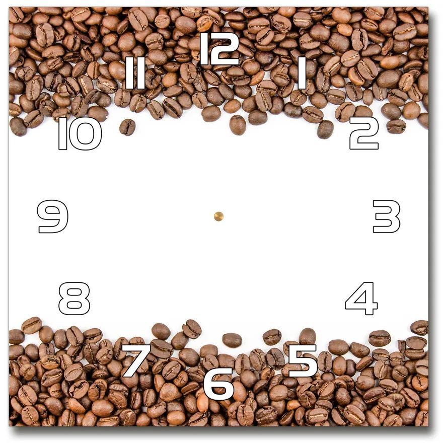 Sklenené hodiny štvorec Zrnká kávy pl_zsk_30x30_f_98900337