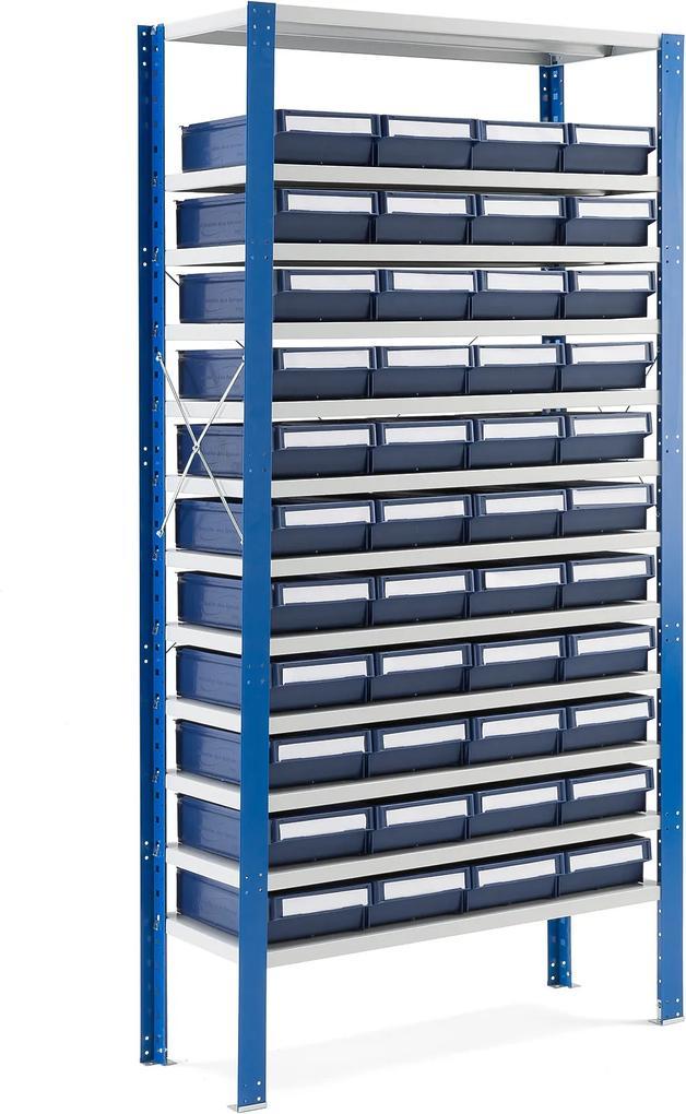 Regál so 44 plastovými boxami, 2100x1000x500 mm, modré boxy
