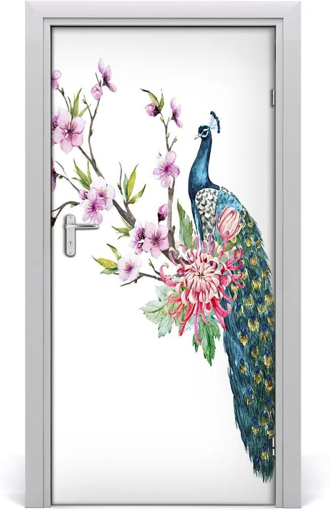 Samolepící fototapeta na dveře Páv a květiny