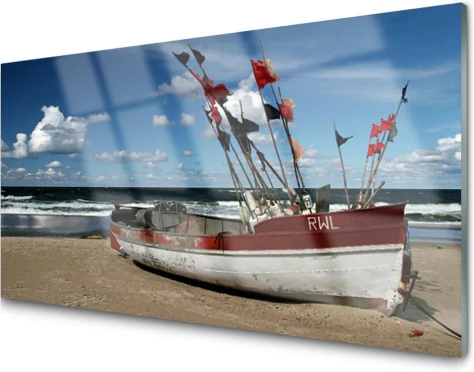 Akrylové obraz Moře pláž loďka krajina