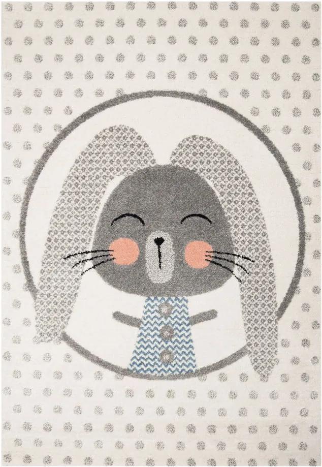 Béžový detský koberec so sivými detailmi Zala Living Rabbit, 120 × 170 cm