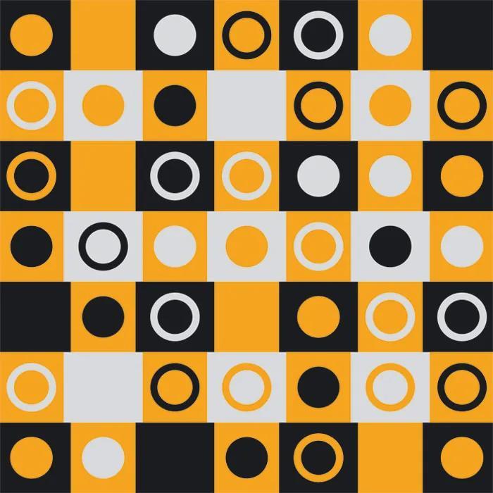 Dimex fototapeta Žltočierne štvorca s kruhmi L-407 | 220 x 220 cm