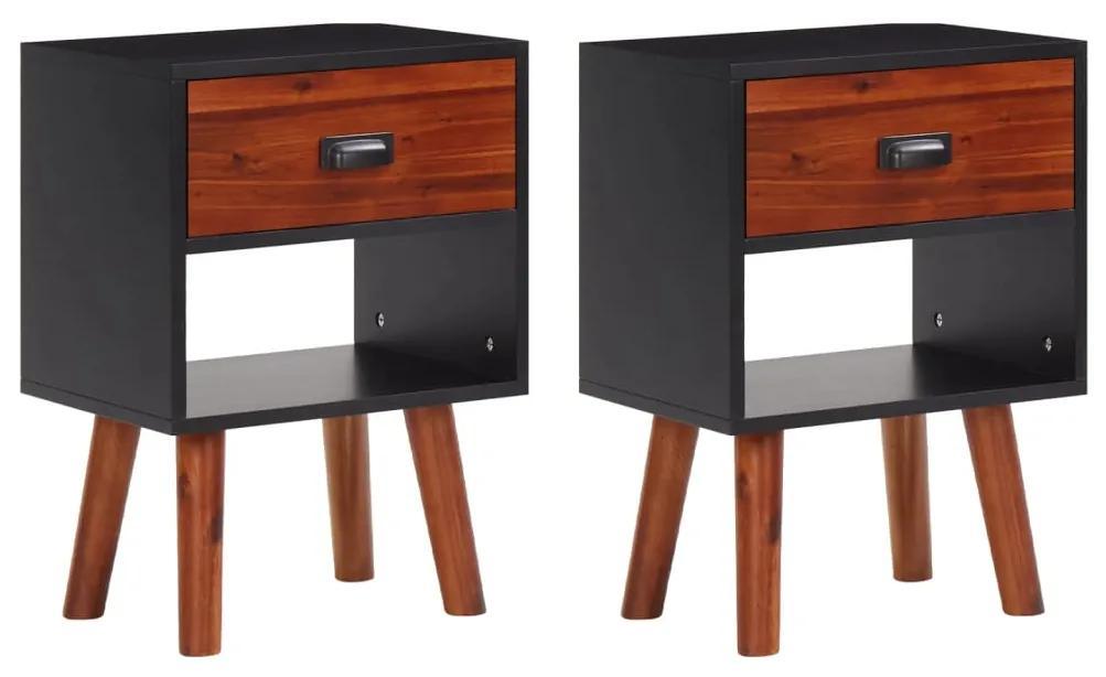 vidaXL Nočný stolík z masívneho akáciového dreva, 2ks, 40x30x58 cm