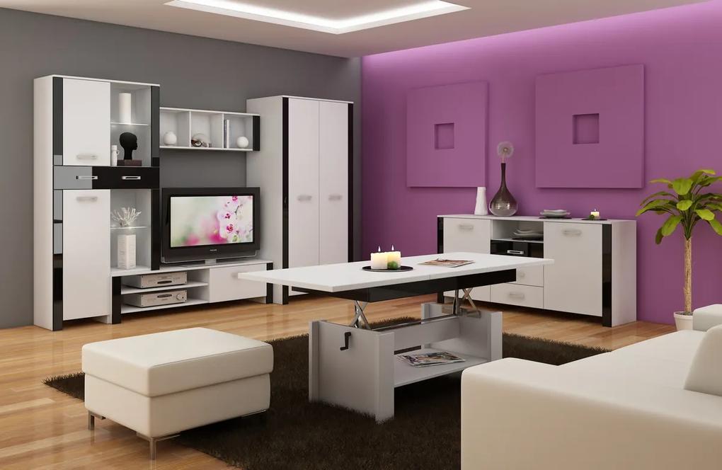 MEBLOCROSS Hugo obývacia izba biela / čierny lesk