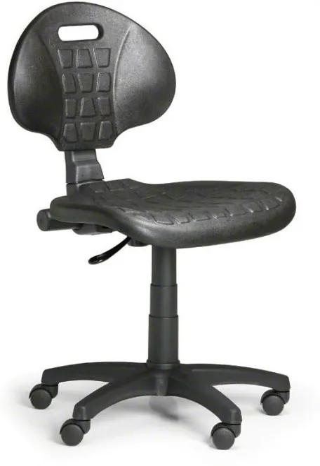 Pracovná stolička PUR, permanentný kontakt, pre mäkké podlahy