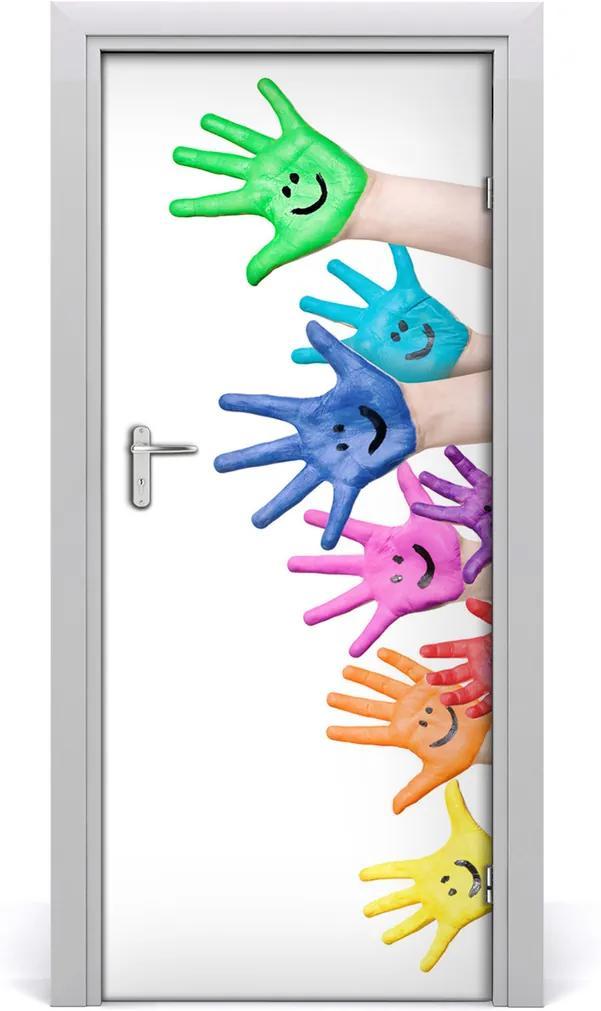 Samolepící fototapeta na dveře Pomalované dlaně