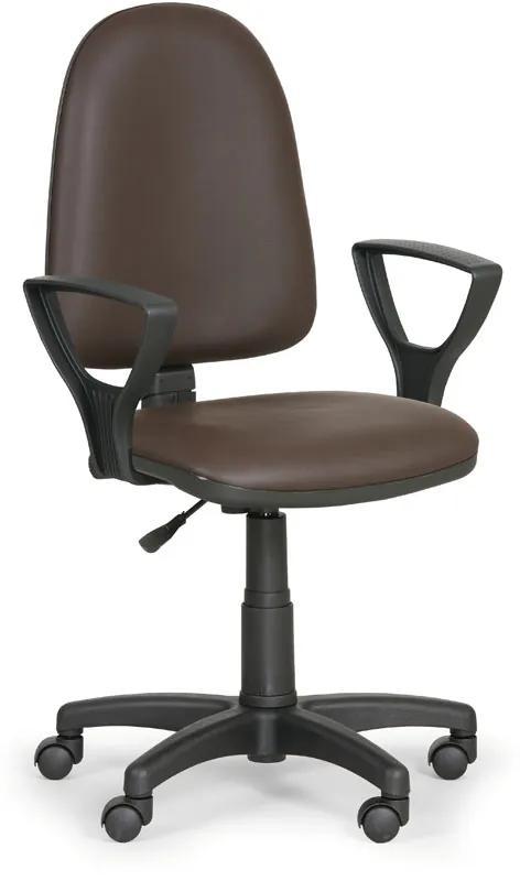 EUROSEAT Pracovná stolička Torino s podpierkami rúk, hnedá
