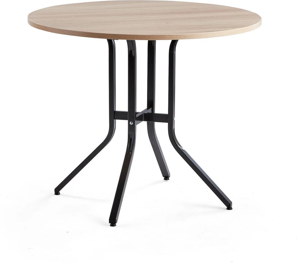 Stôl Various, Ø1100x900 mm, čierna, dub