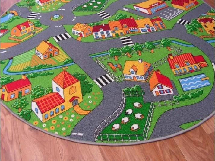 Detský koberec KRUH LITTLE VILLAGE - 100 cm kruh