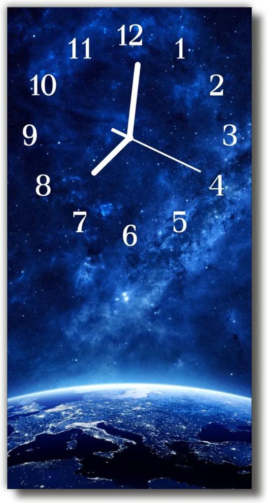 Skleněné hodiny vertikální Vesmír, modré hvězdy