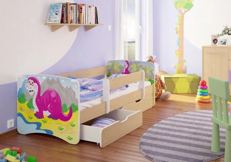 MAXMAX Detská posteľ DINOSAURUS funny 180x90 cm - bez šuplíku 180x90 pre všetkých NIE