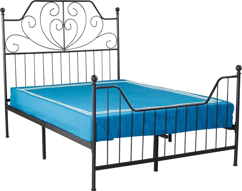 TEMPO KONDELA Rajana kovová manželská posteľ s roštom čierna