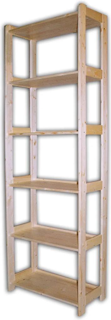 Kareš Drevený regál z masívu so 6 policami (680 x 335 x 2 040 mm) Farba náteru: bez náteru (prírodná)