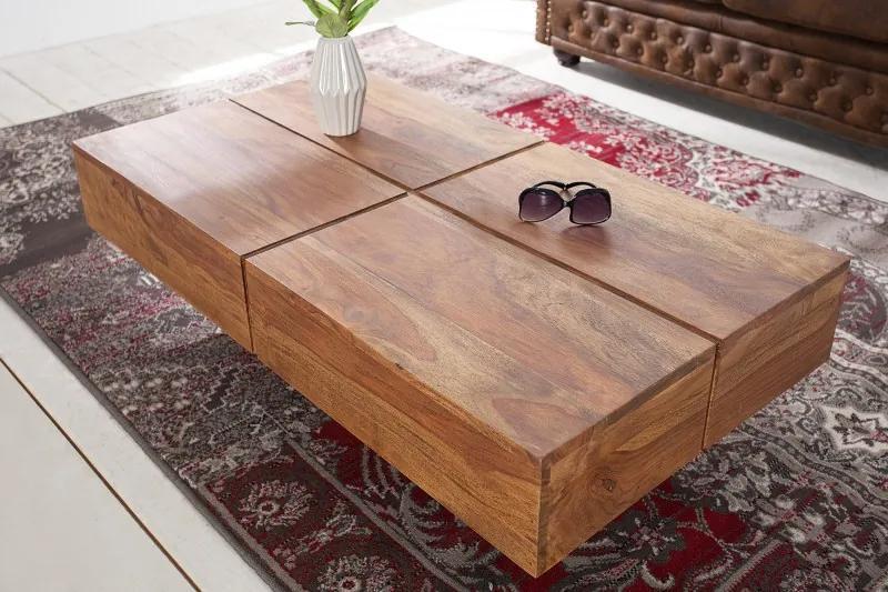 Konferenčný stolík Bolt 110 cm z masívneho dreva Sheesham