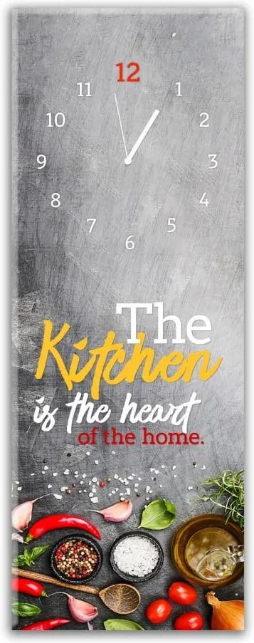 Nástenné hodiny Styler Glassclock Kitchen Heart, 20 × 60 cm