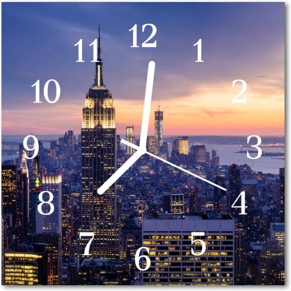 Nástenné skleněné hodiny velkoměsto