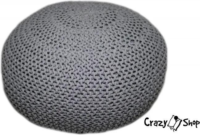 Pletený puf CRAZYSHOP EXTRA, šedý (ručne pletený)