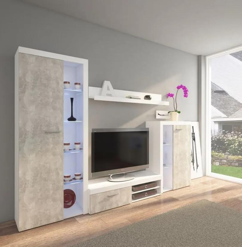 Obývacia stena betón/biela model Pires