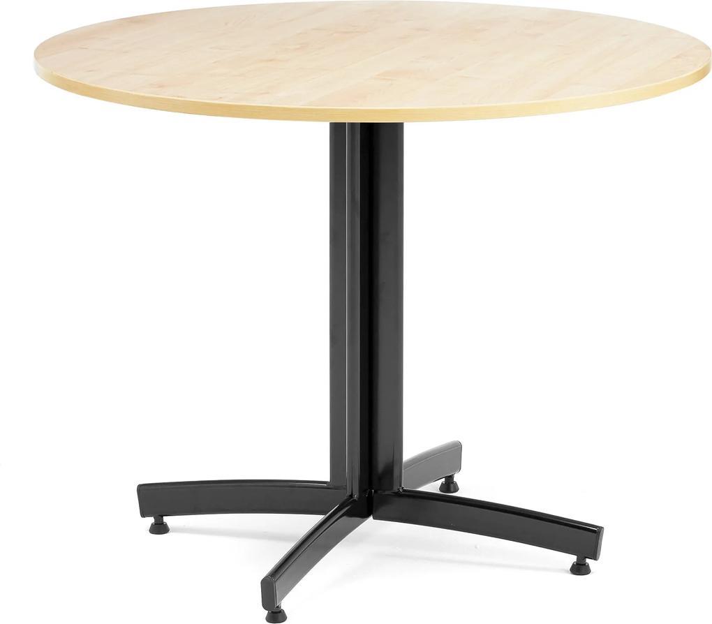 Jedálenský stôl Sanna, okrúhly Ø 900 x V 720 mm, breza / čierna