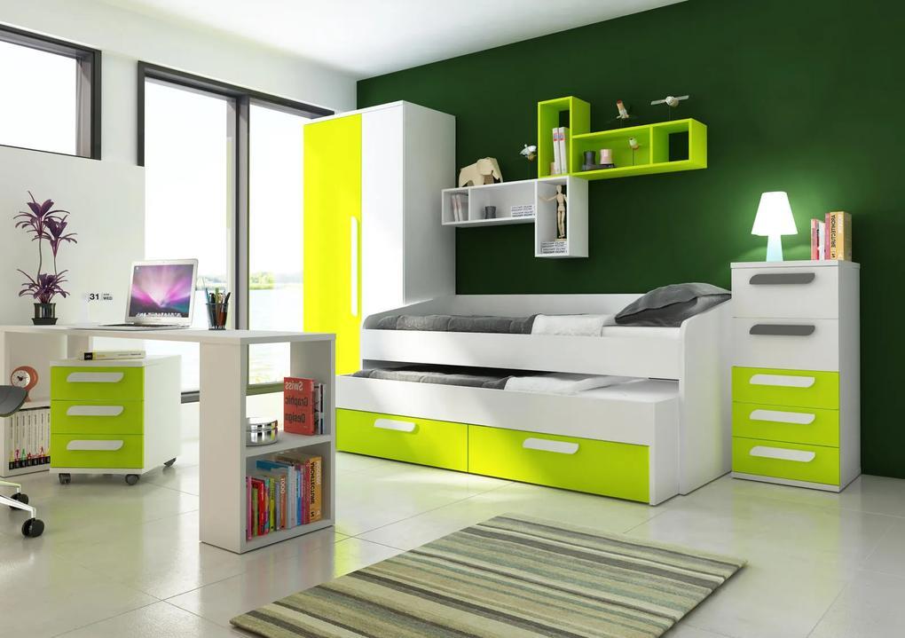 Detská izba s prístelkou B - zelená - Detská posteľ s prístelkou B
