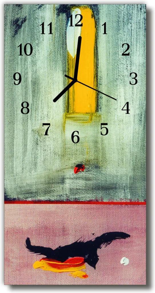 Skleněné hodiny vertikální Malované barvy