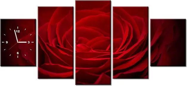 Tlačený obraz s hodinami Ruža pre lásku 150x70cm ZP2394A_5B