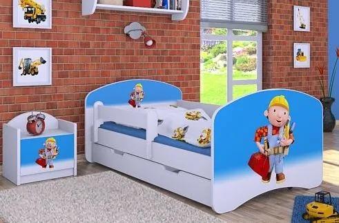 MAXMAX Detská posteľ so zásuvkou 160x80cm BOŘEK STAVITEL