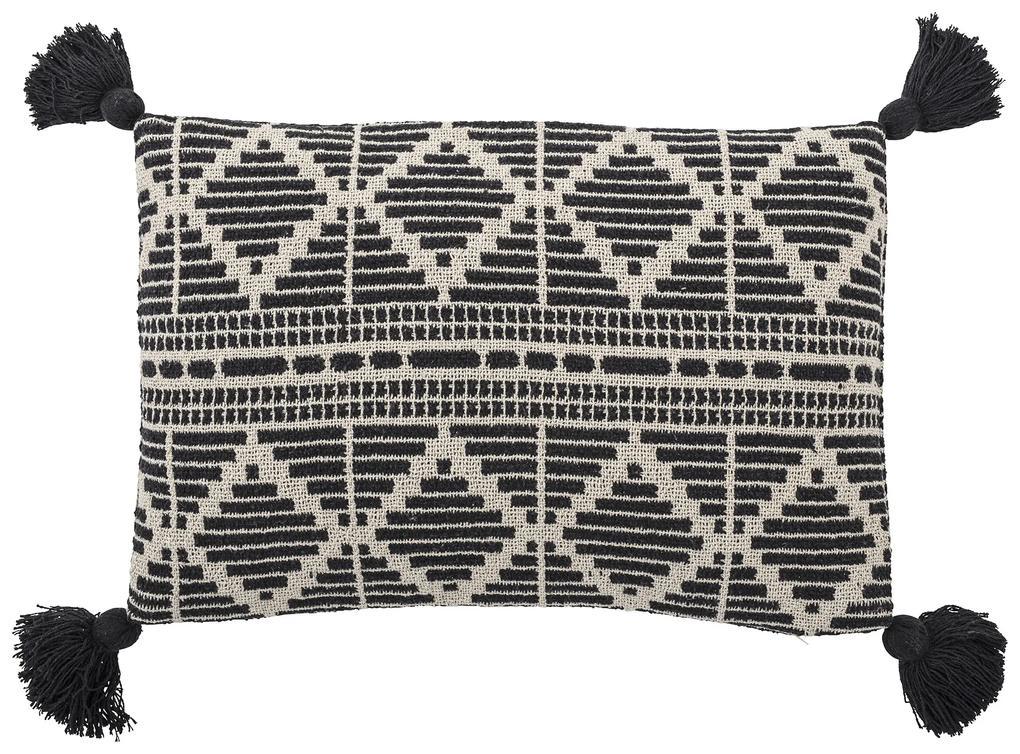 Bloomingville Vankúš z recyklovanej bavlny - Black 60 x 40cm