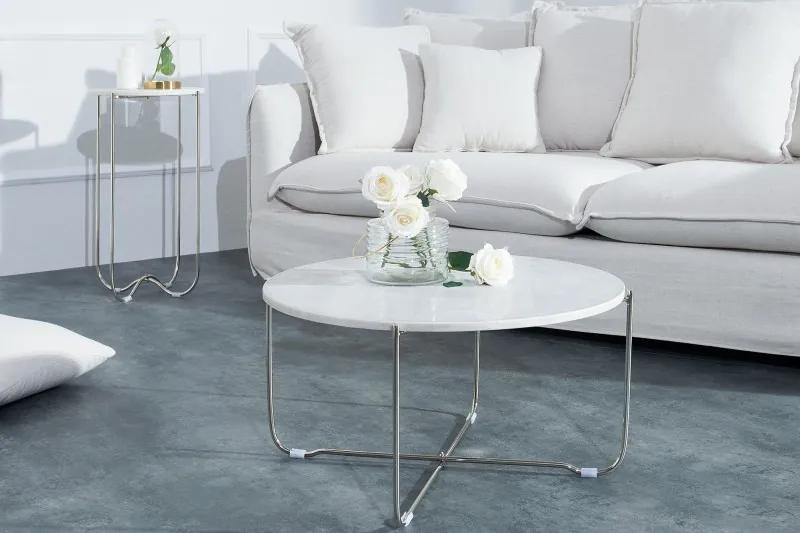 Konferenčný stolík Noble mramor white - biely 60 cm