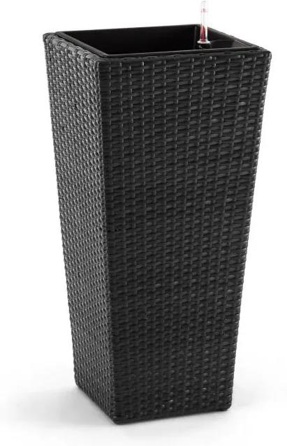 Blumfeldt Primaflor Hydro, kvetináč, 37 x 76 x 37 cm, zavlažovanie, polyratan, antracit