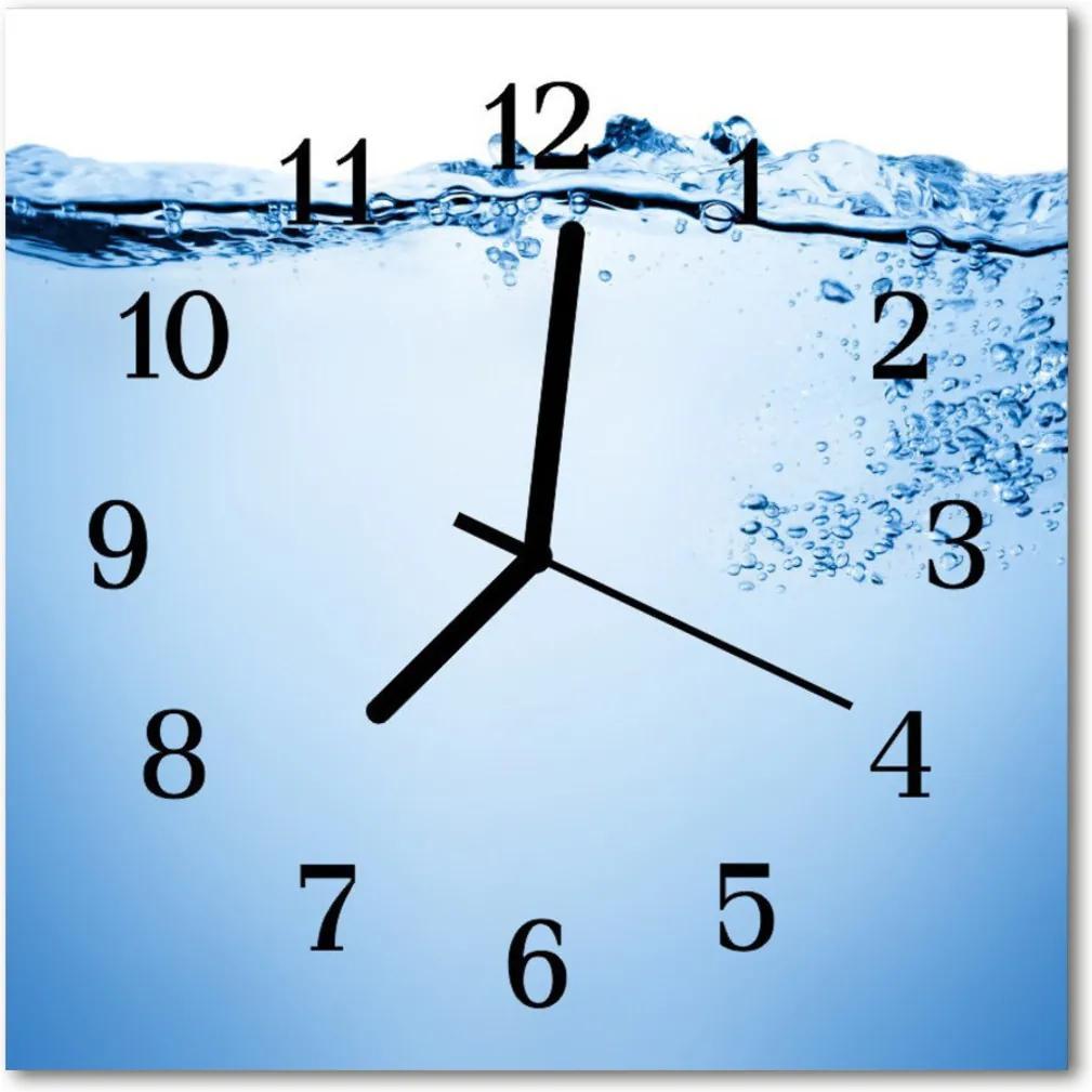 Sklenené hodiny štvorcové  voda
