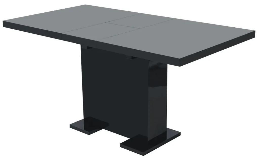 vidaXL Rozkladací jedálenský stôl, vysoko lesklý, čierny
